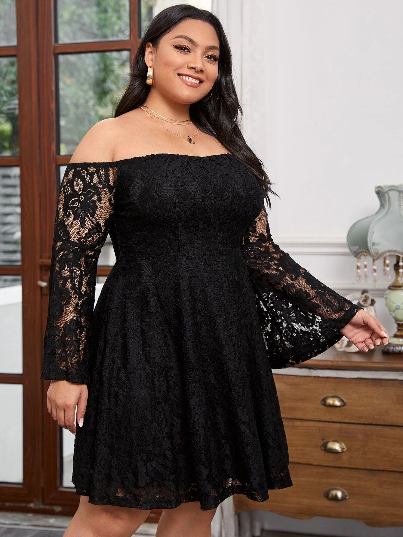 SHEIN Plus Off Shoulder Flounce Sleeve Lace Dress