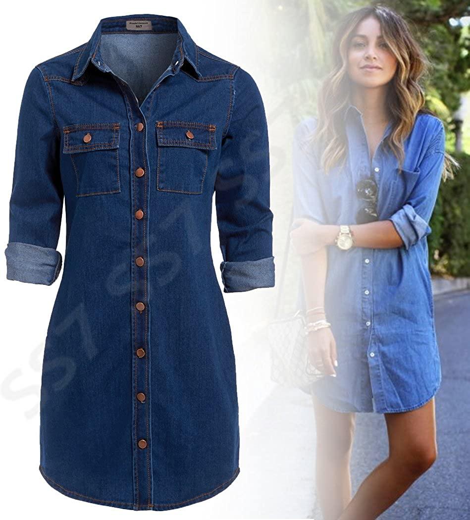 SS7 New Vintage Denim Blue Shirt Dress Sizes 6-16