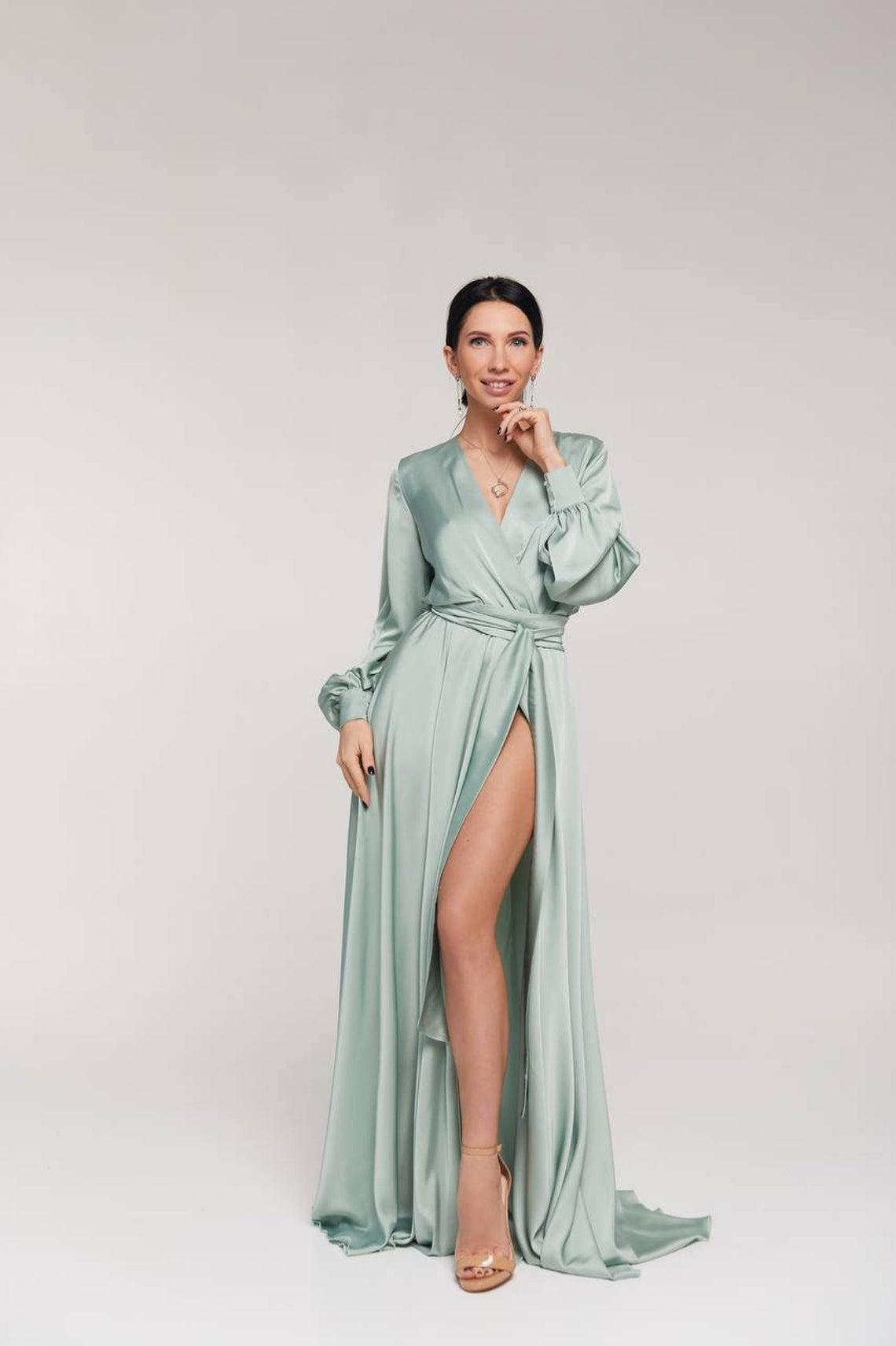 Sage green A-line wrap maxi dress/bridesmaid dress/wedding guest dress/long sleeve dress/minimalist dress/prom dress/evening dress/formal