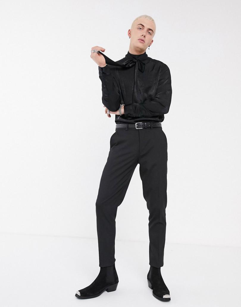 Shirts | Asos Mens Asos Design Regular Fit Satin Funnel Neck Shirt With Tie Detail Black