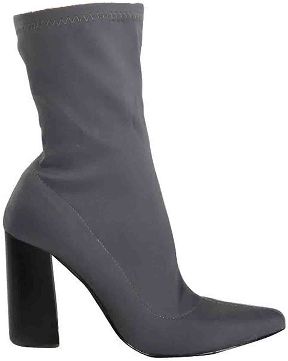 Shoesdays Ladies Block High Heels Stretchy Lycra Ankle Boots Wide Fit Celebrity Pointy Sock Size