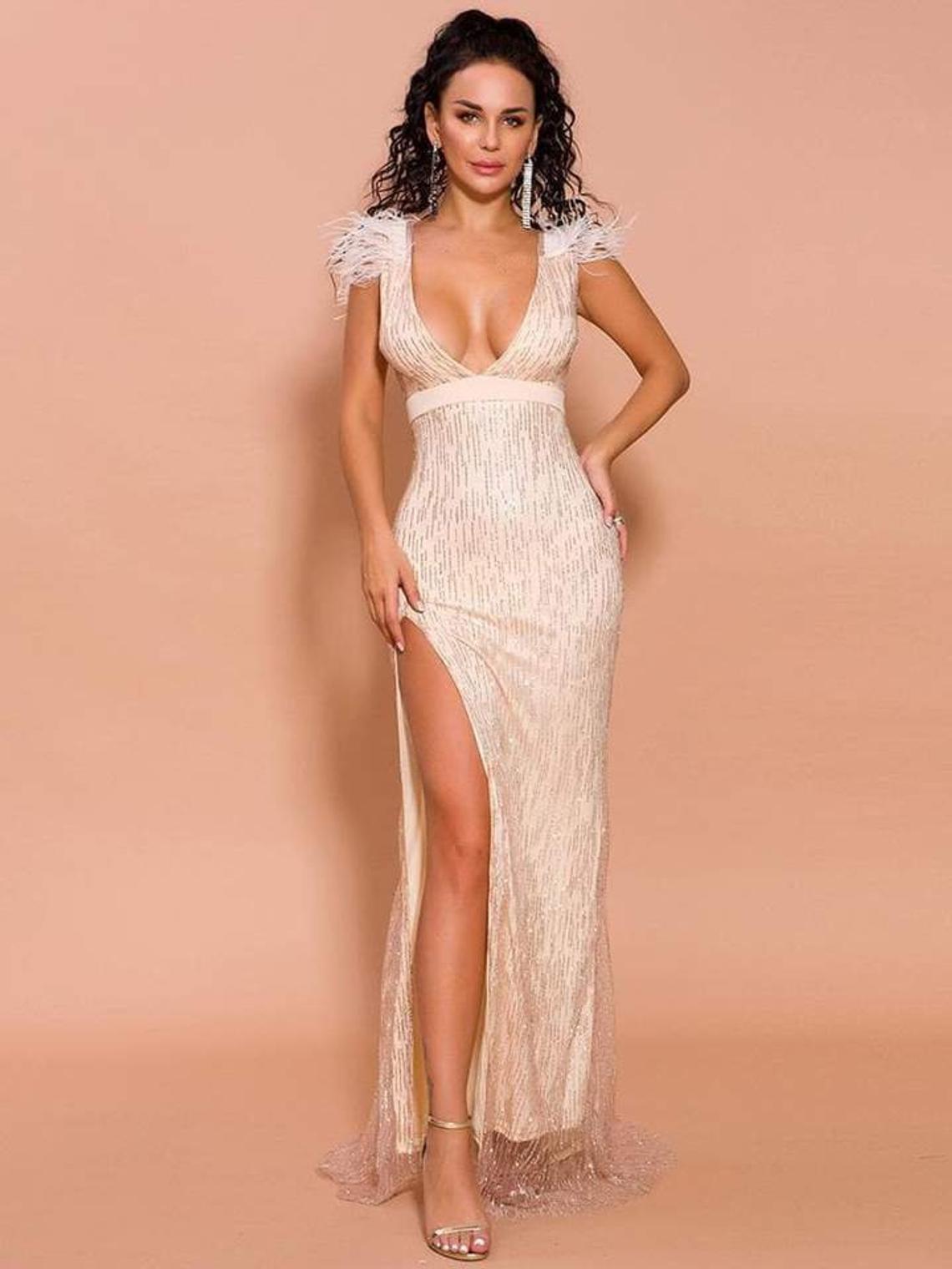 Shoulder Feather Long Dress Plunge Split Leg, Prom Dress, Wedding Dress, maxi dress, sparkle dress,