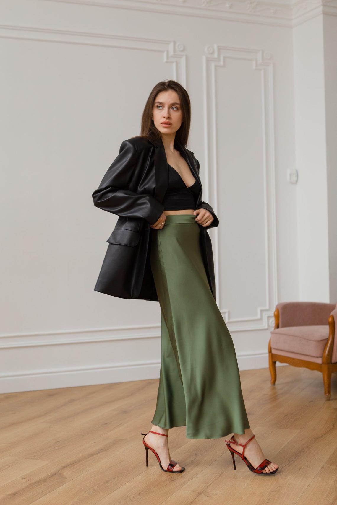 Silk skirt olive maxi long skirt trendy woman silk Armani skirt silk slip elegant skirt Casual skirt for spring