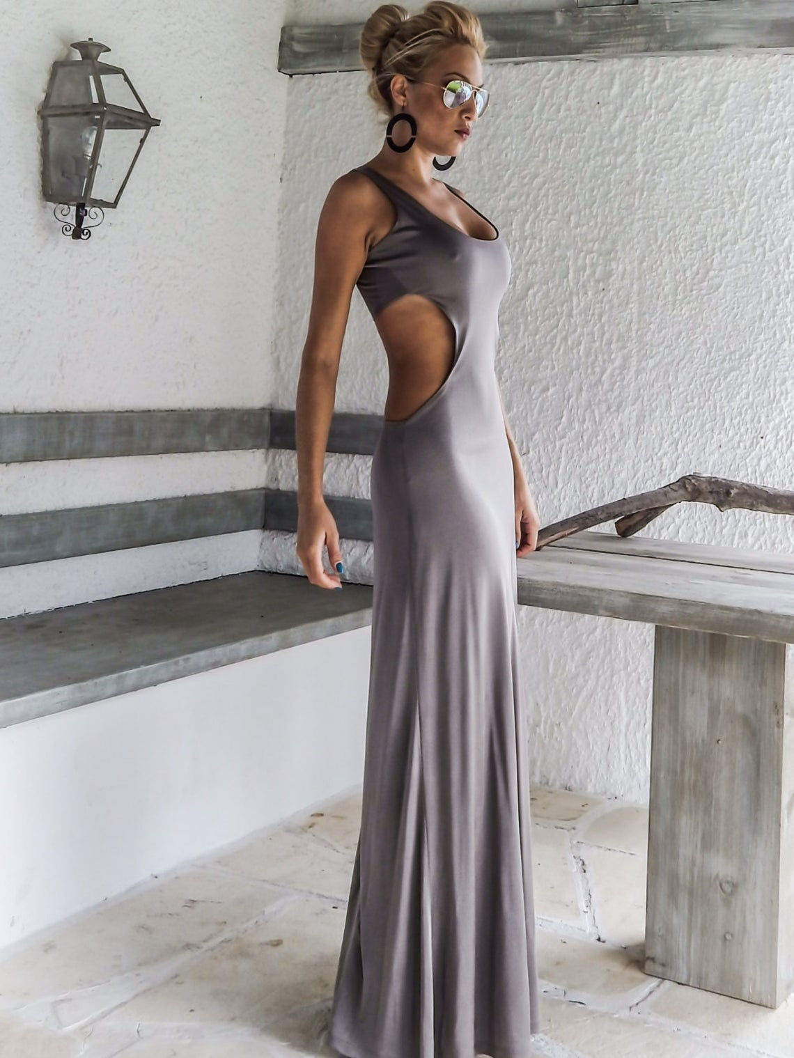 Silver Gray Shiny With Cut Out Details Open Back Maxi Dress - #95023