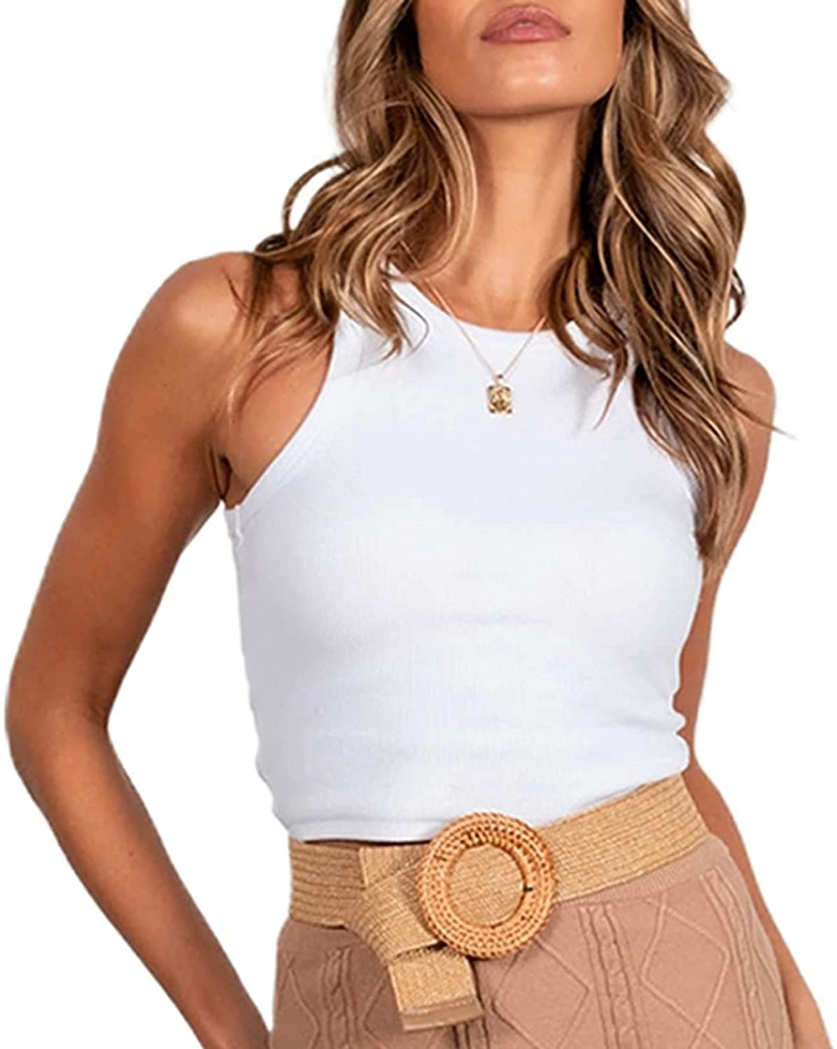 Sleeveless Racerback Tank Tops for Women Ribbed Knit Basic Stretch Cami Summer Fashion Scoop Neck Tank
