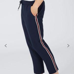 Fit Navy with Red Side Stripe Cropped Trousers