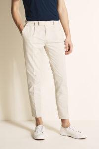 Slim Fit Stone Linen Blend Single Pleat Cropped Trouser