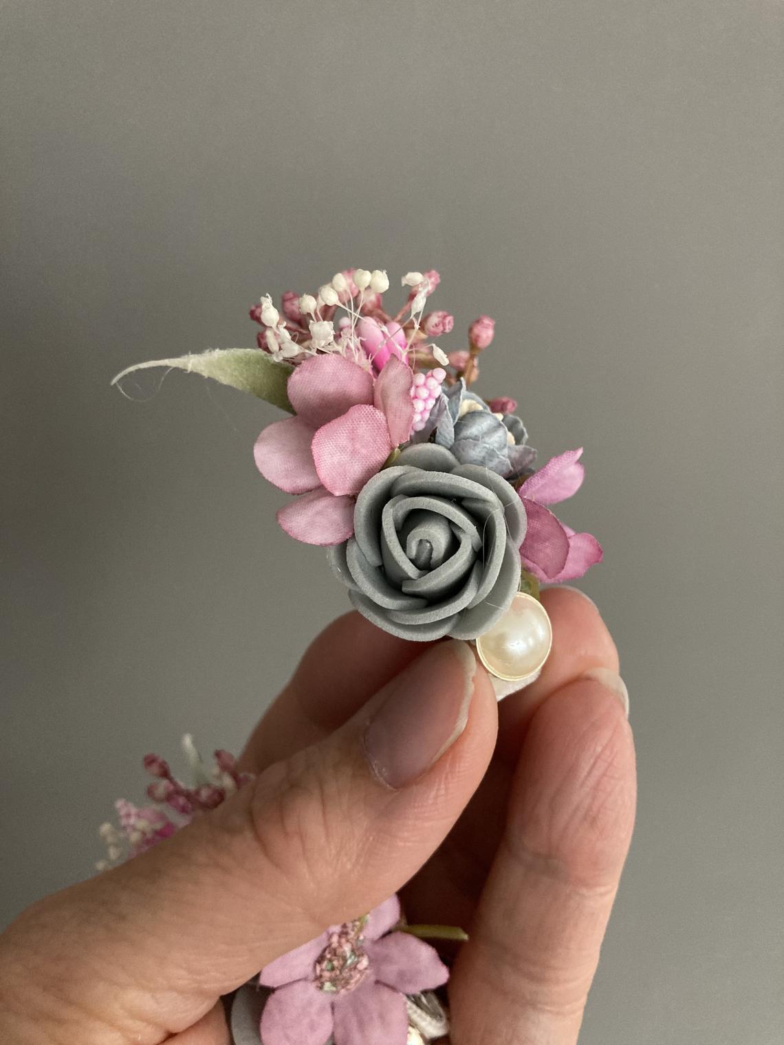 Small flower hair clips, summer silk hair secs, bridesmaids hair clips, party hair slides, girls hair fashion, pair of floral clips, toddler