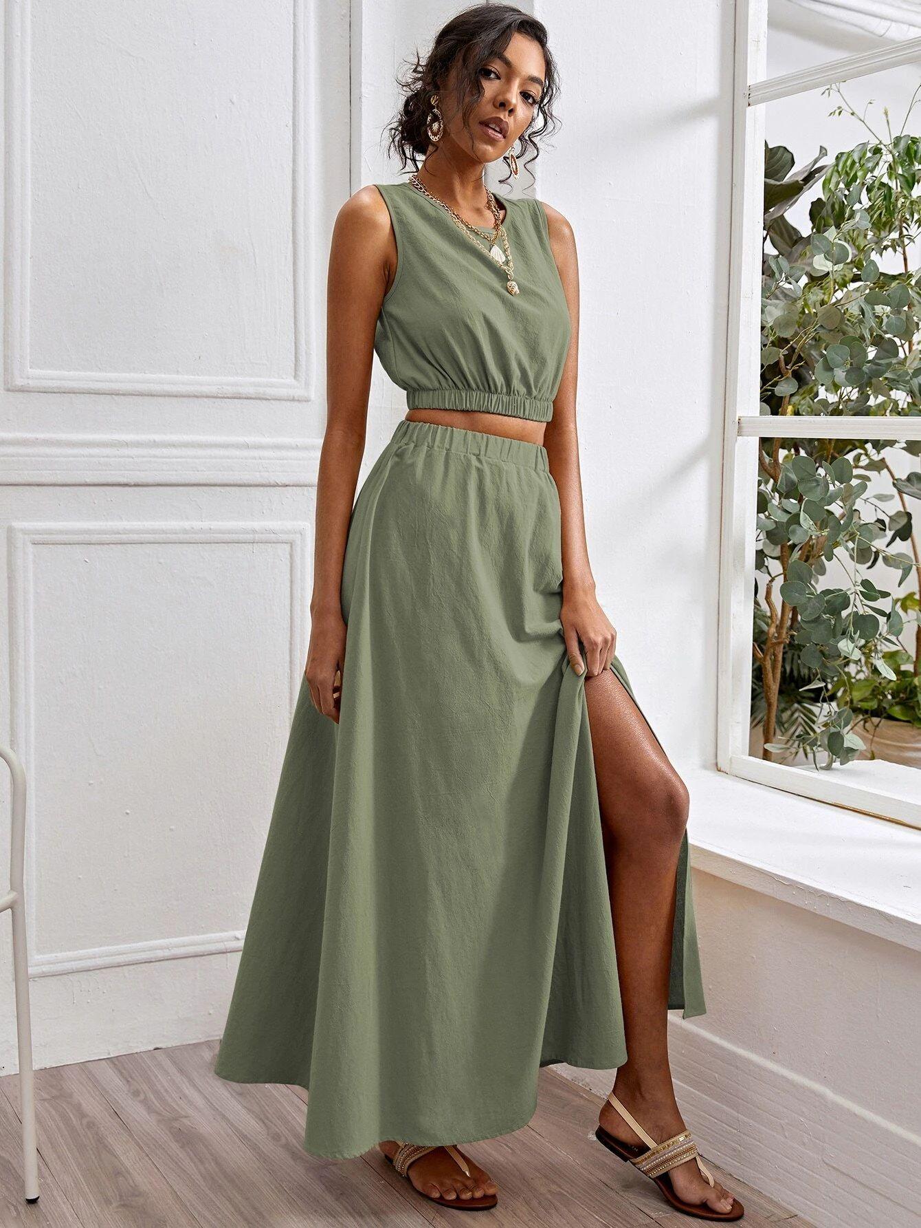 Solid Tank Top & Split Thigh Skirt