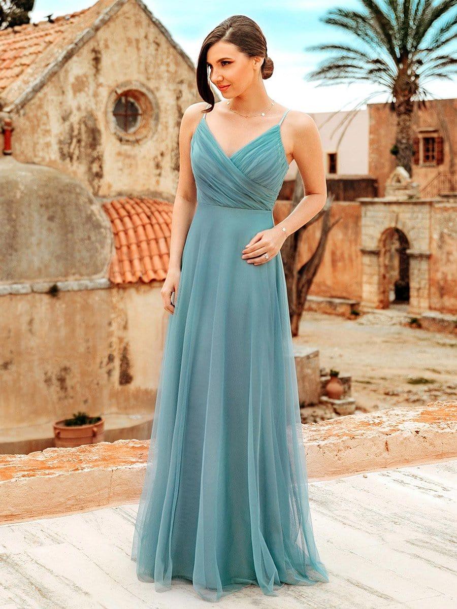 Spaghetti Strap V Neck Maxi Long Tulle Bridesmaid Dresses