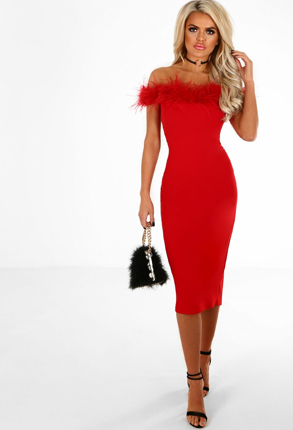 Stay Don't Stray Red Feather Trim Bardot Midi Dress