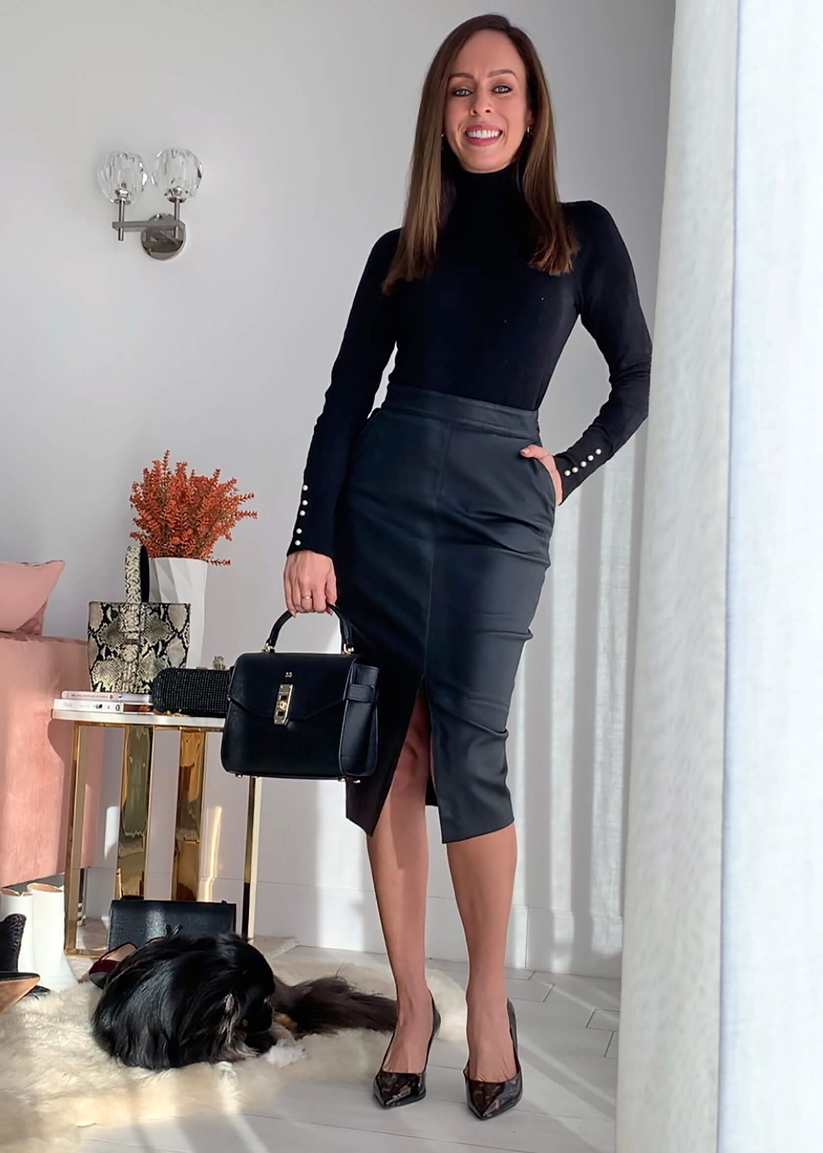 Turtleneck top & pumps with leather skirt with slit
