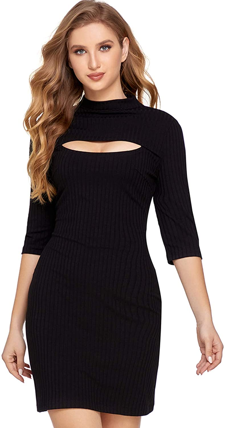 Sylanfia Women Bodycon Dress Sexy Plain Hollow Knitted Jumper Dress Round Neck Ribbed Sweater Casual Dress Ladies Knitwear