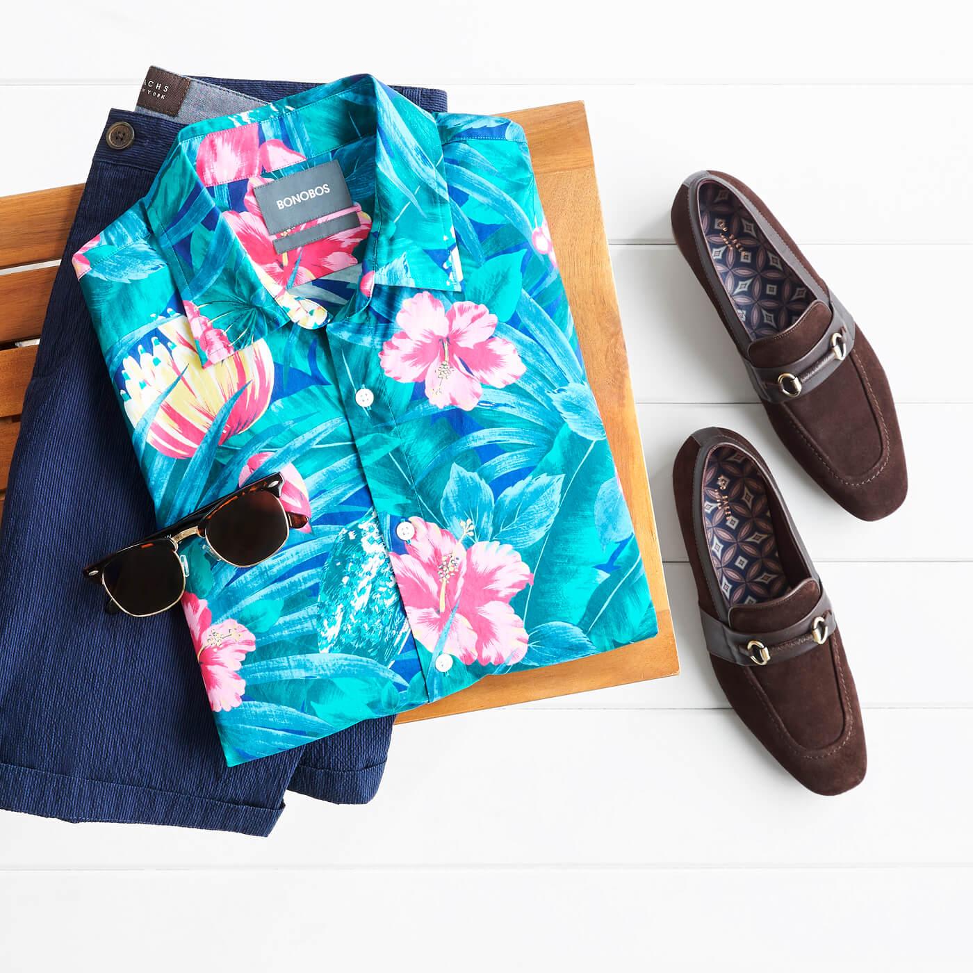 Men's Floral Printed Shirts Colour coordinate your shoes