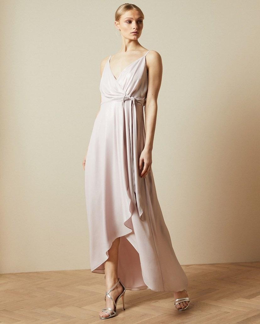 TED BAKER NUALLA WATERFALL WRAP MAXI DRESS, LIGHT PINK/BLUSH