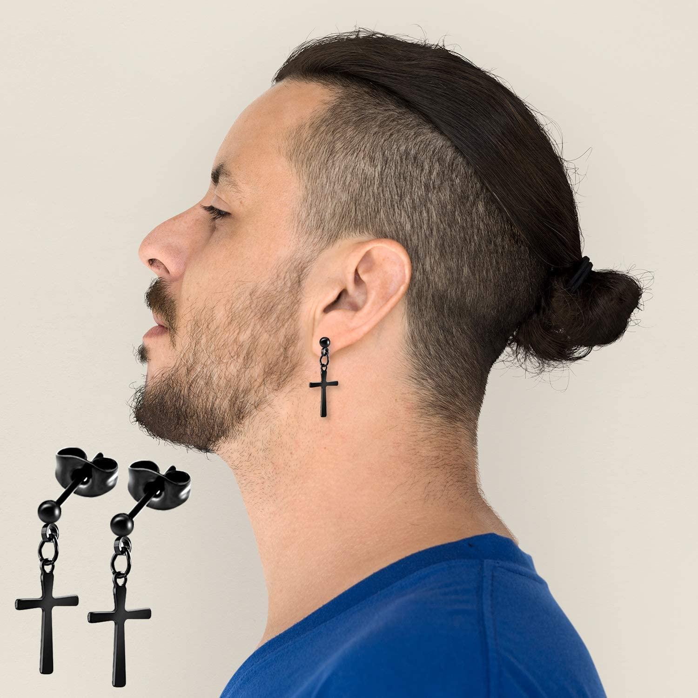 TUPARKA Stylish Stainless Steel Earrings Small Hoop Earrings Classic Zircon Ear Piercing Jewelry Black Stud Earrings for Men