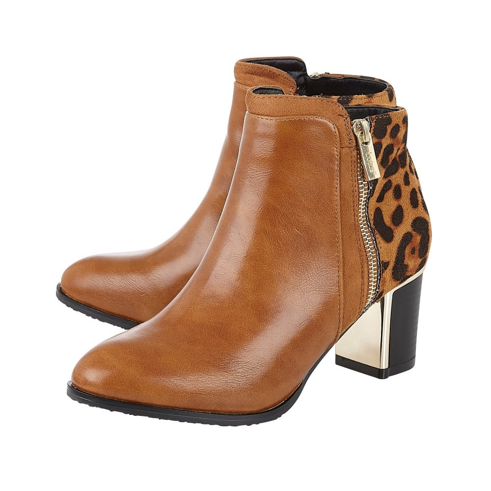 Tan & Leopard Greeve Ankle Boots | Lotus
