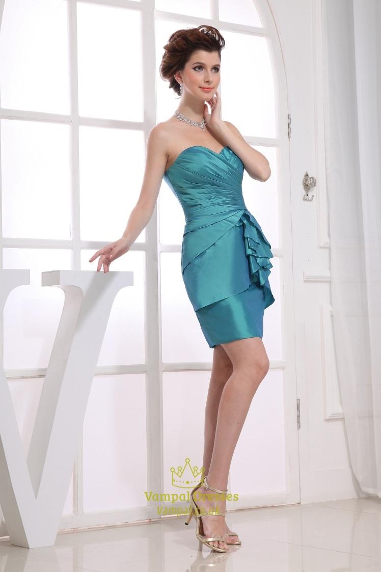Teal Green Cocktail Dress, Strapless Sweetheart Short Prom Dress 2021