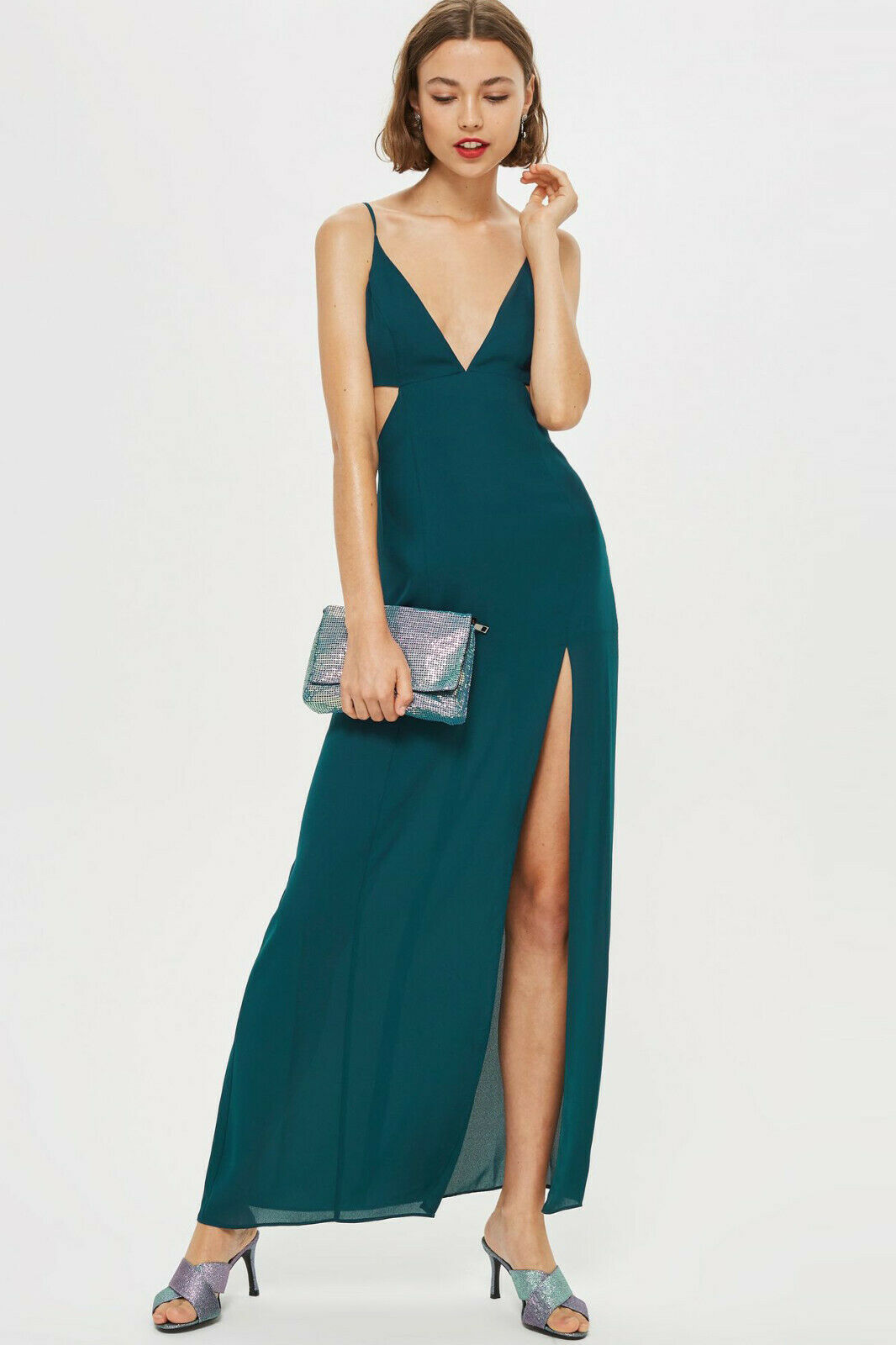 Topshop NEW Cut Out Side Maxi Dress in Teal Green