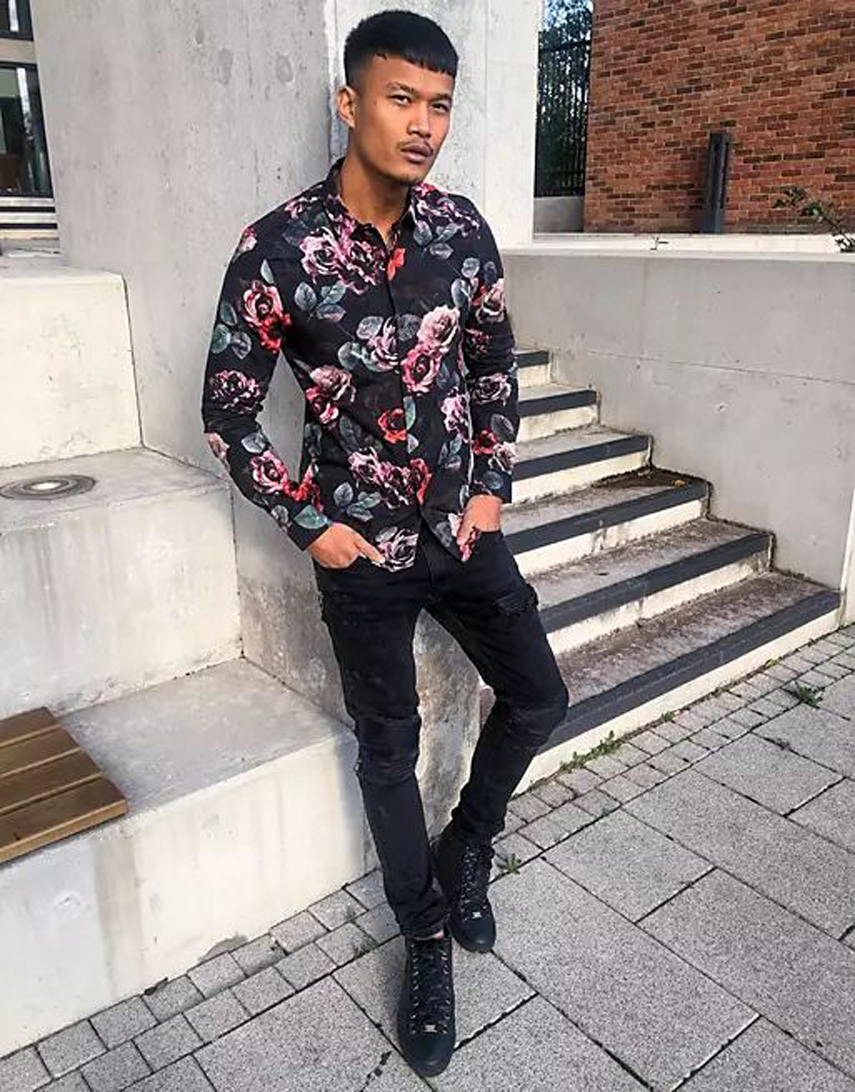 Twisted Tailor floral shirt in black