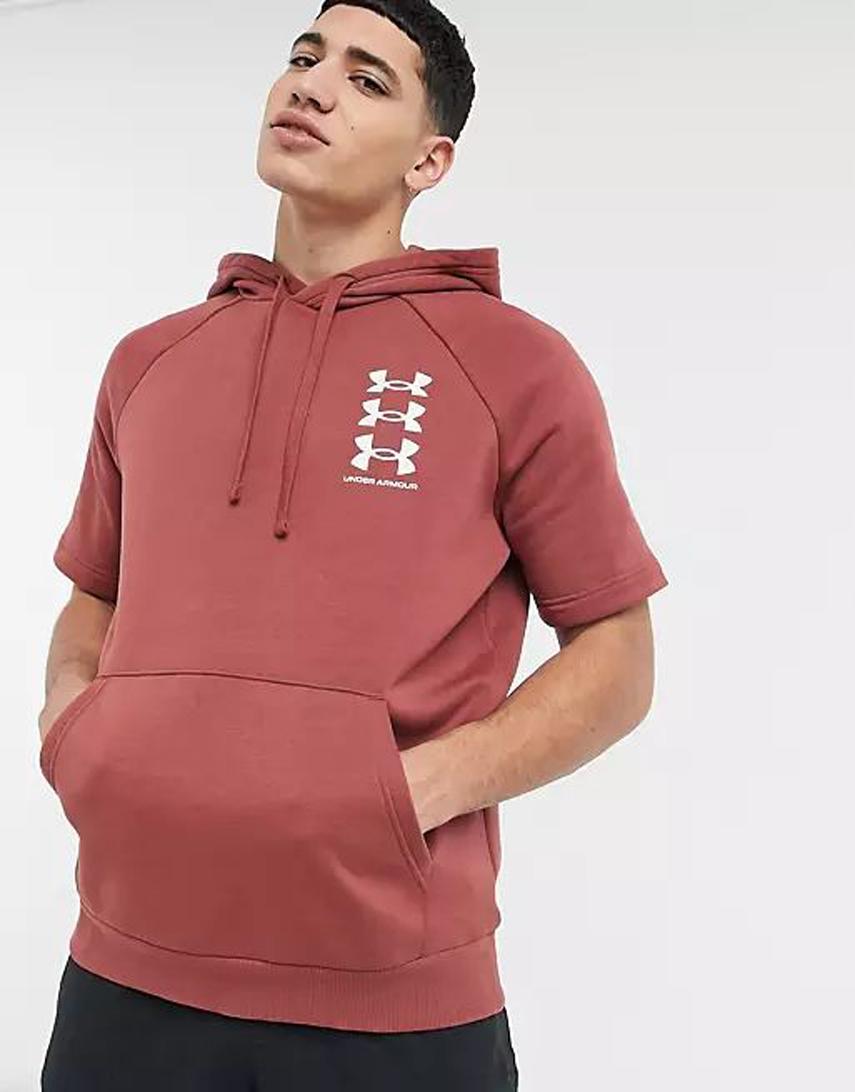 Under Armour short sleeve Hoodie in red