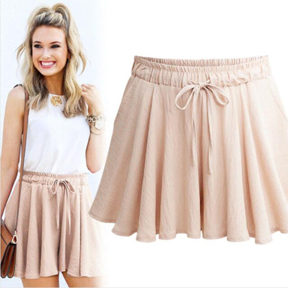 VERYCO Women Summer Wide Leg Shorts Elastic High Waist A Line Culottes Casual Hot Pants Trousers