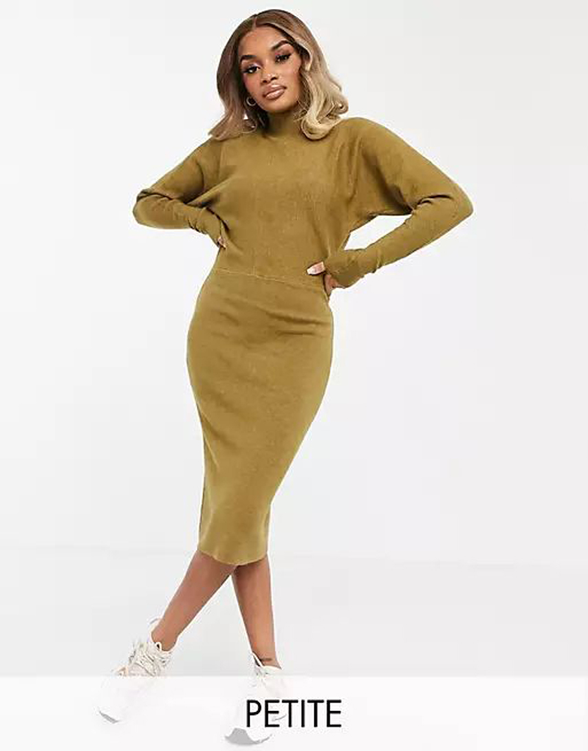 Vila Petite high neck long sleeve knitted dress in brown