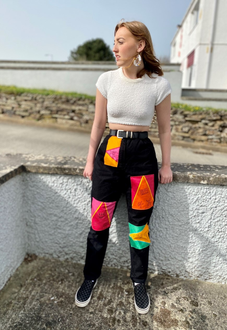 Vintage high waisted reworked jeans