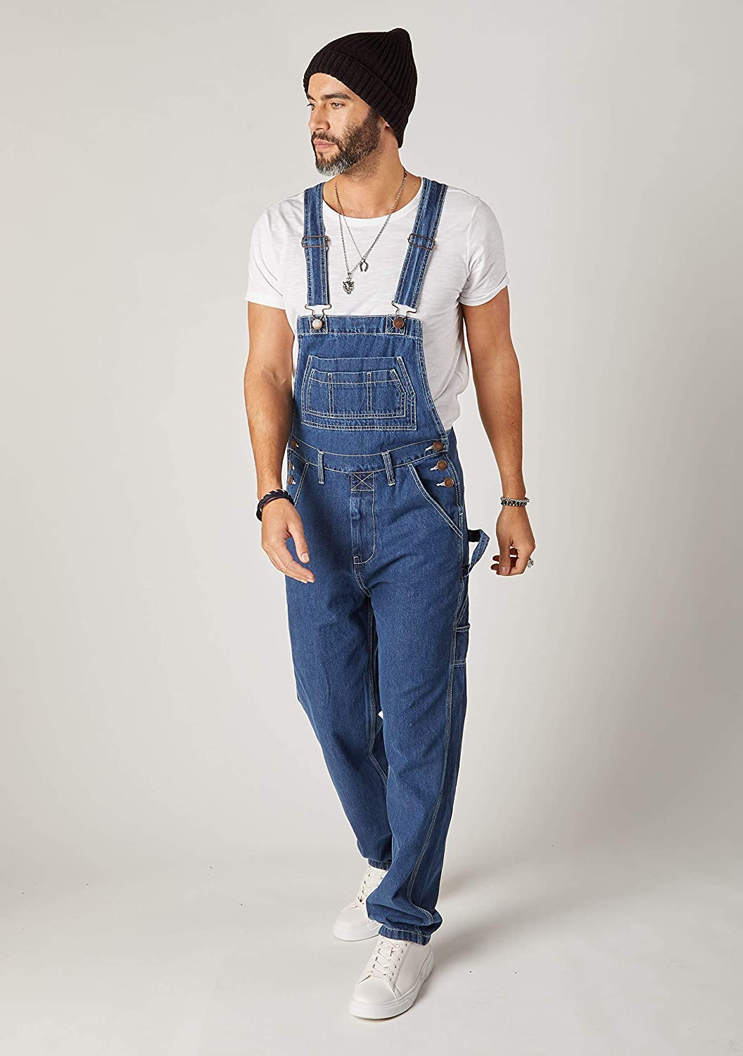 Wash Clothing Company Mens Relaxed Fit Denim Dungarees - Stonewash Classic Overalls 30-44W