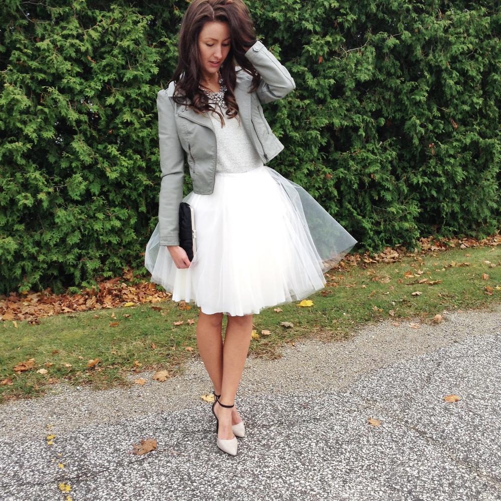 White Tulle Skirt with blazer