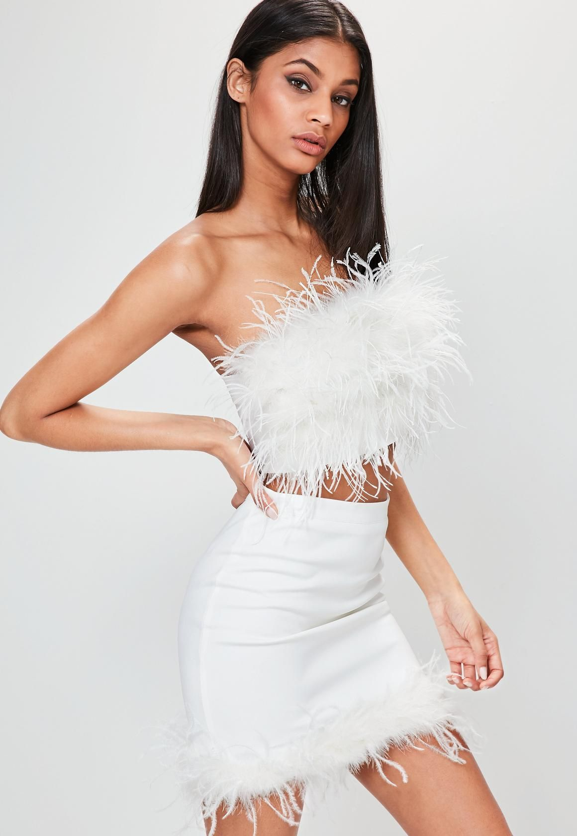 White Feather Bandeau Top