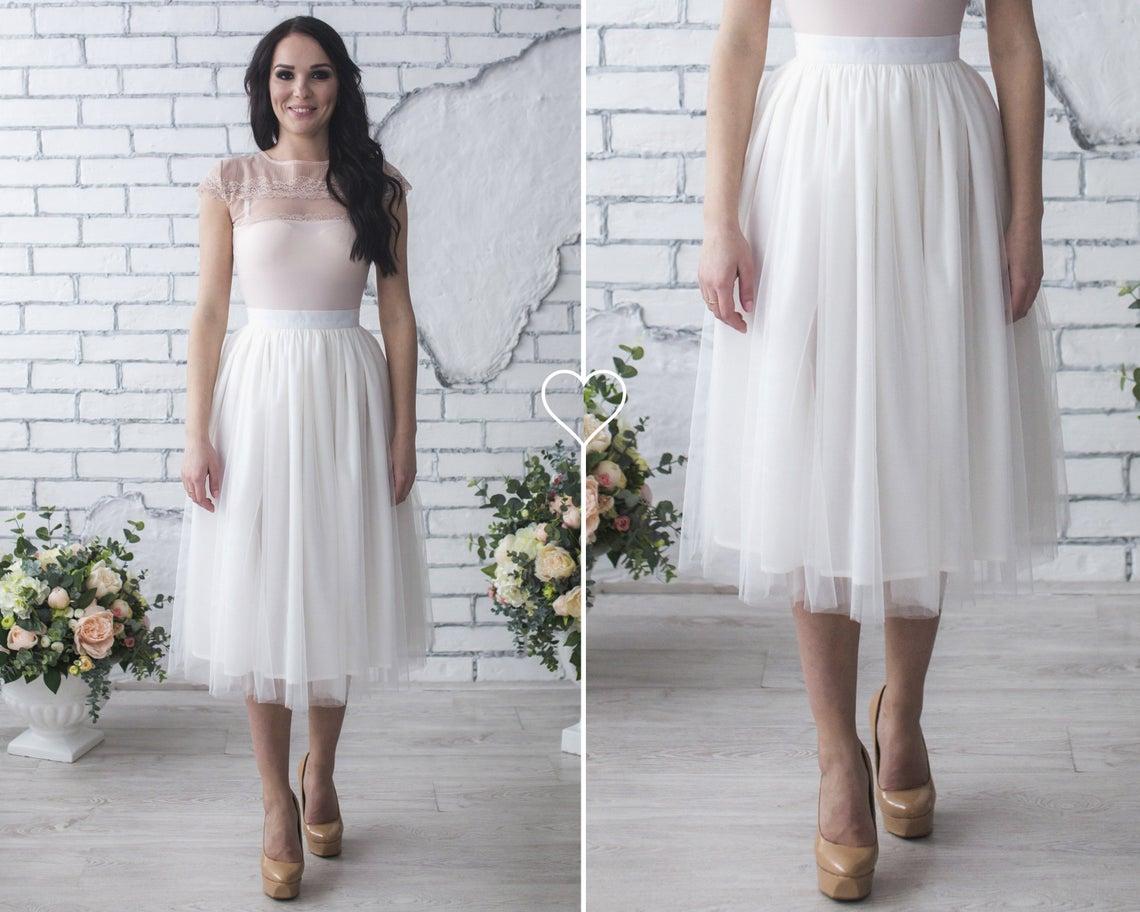 White Midi Tulle Skirt / Tutu Knee Length Skirt / Wedding Bridal Tulle Skirt / Adult Tulle Skirt / White Tutu Skirt