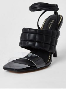 Wide Fit Quilted Tie Up Sandal - Black