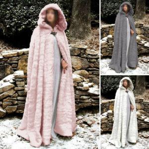 Winter Warm Fluffy Fur Hooded Cape Cloak Long Coat
