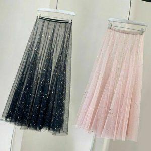 Women Sequin Lace Skirt Pleated Mesh Underskirt Sheer See