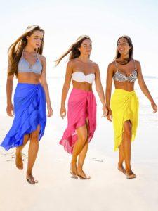 Women Swimsuit Wrap Beach Wrap Chiffon Pareo Bikini Skirt Ruffle Sarong Wrap