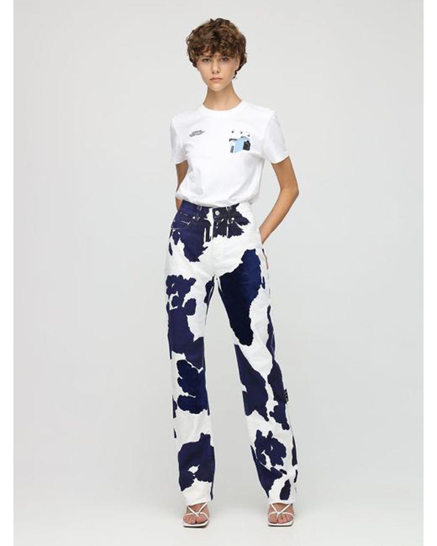 Women's Blue Cow Print Baggy Cotton Denim Jeans