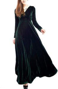 Women's Elegant Velvet Long Sleeve Swing Maxi Dress Plus Size