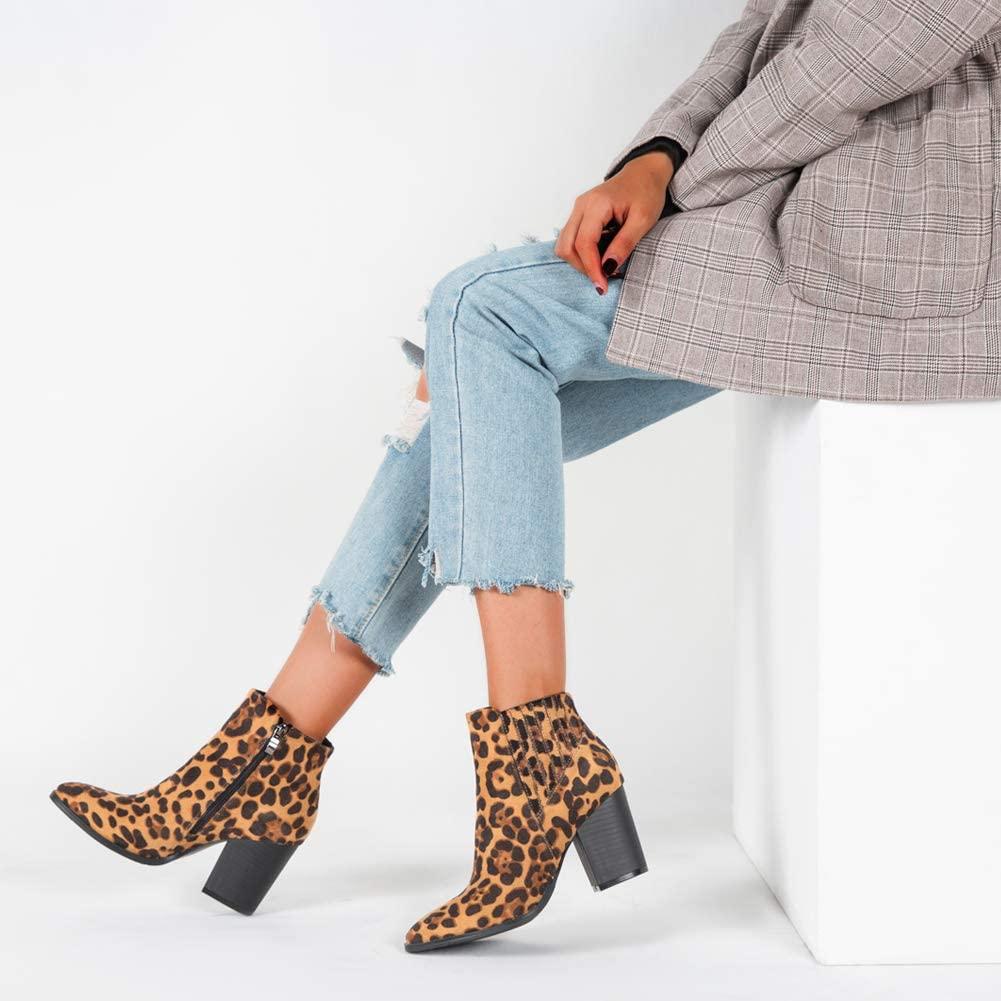 Women's Leopard Print Bootie Block High Heel Zip Ankle Boots