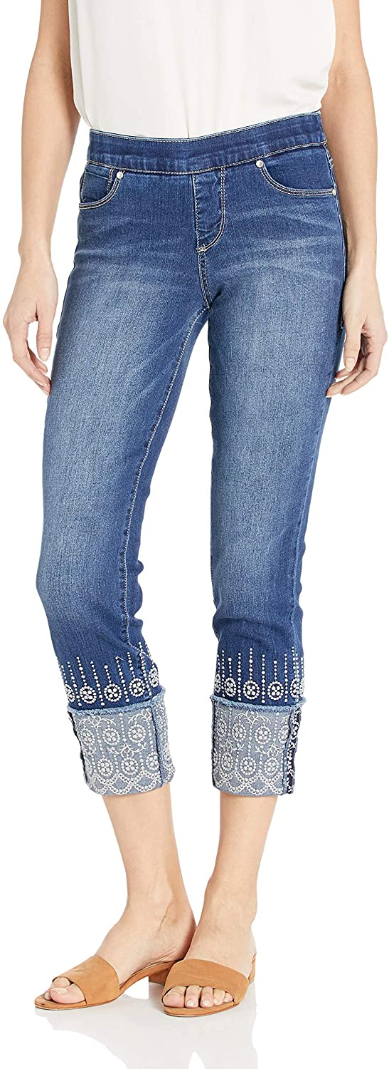 Women's Lewis Straight Cuffed Pull on Crop with Embroidery Jeans