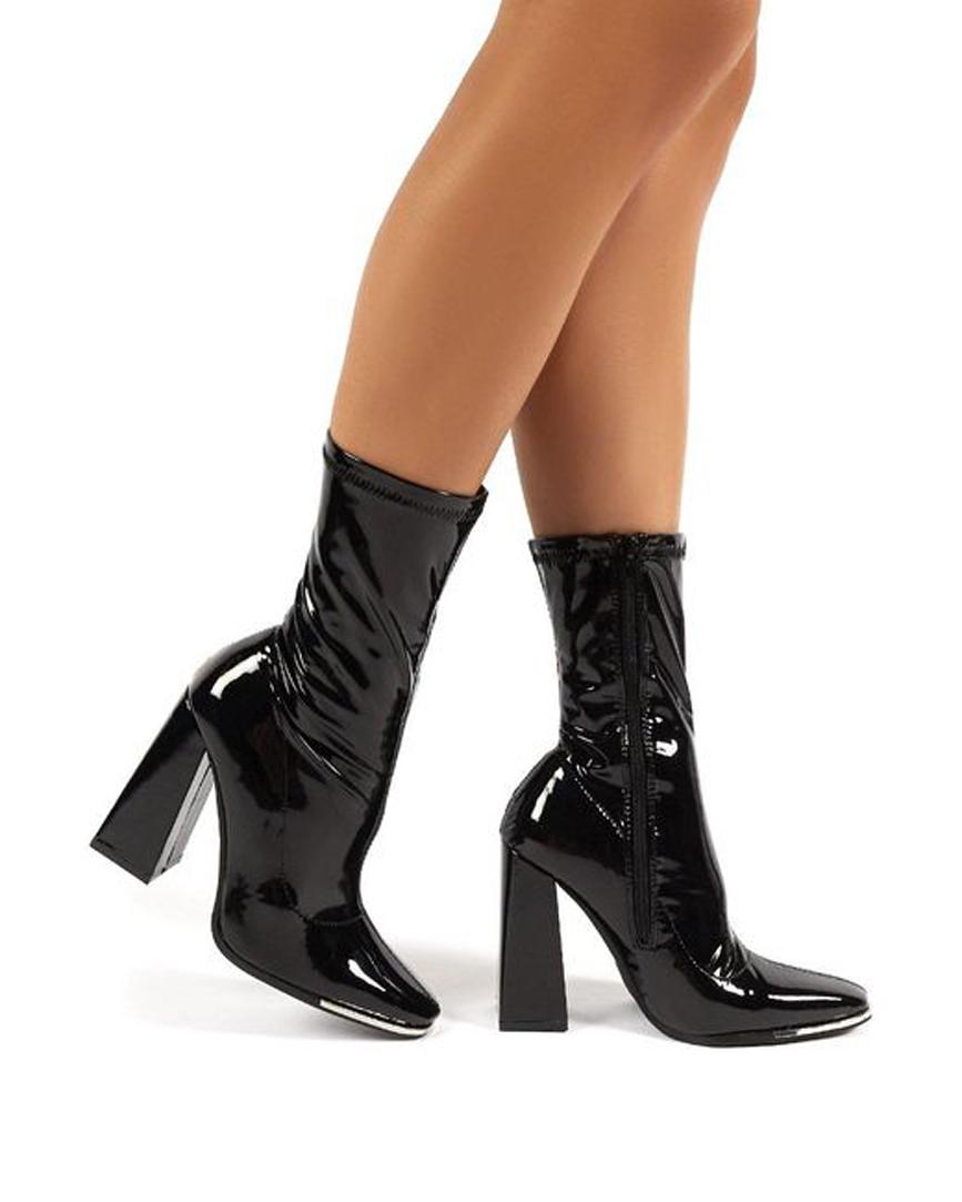Women's Lyza Black Vinyl Block Heeled Sock Fit Ankle Boots