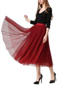 Women's Midi Skirt Pleated High Waist Elastic Ladies Net Yarn Long Skirts