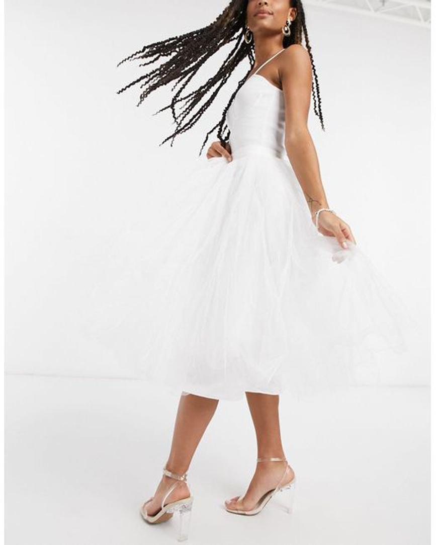 Women's White Tulle Midi Skirt