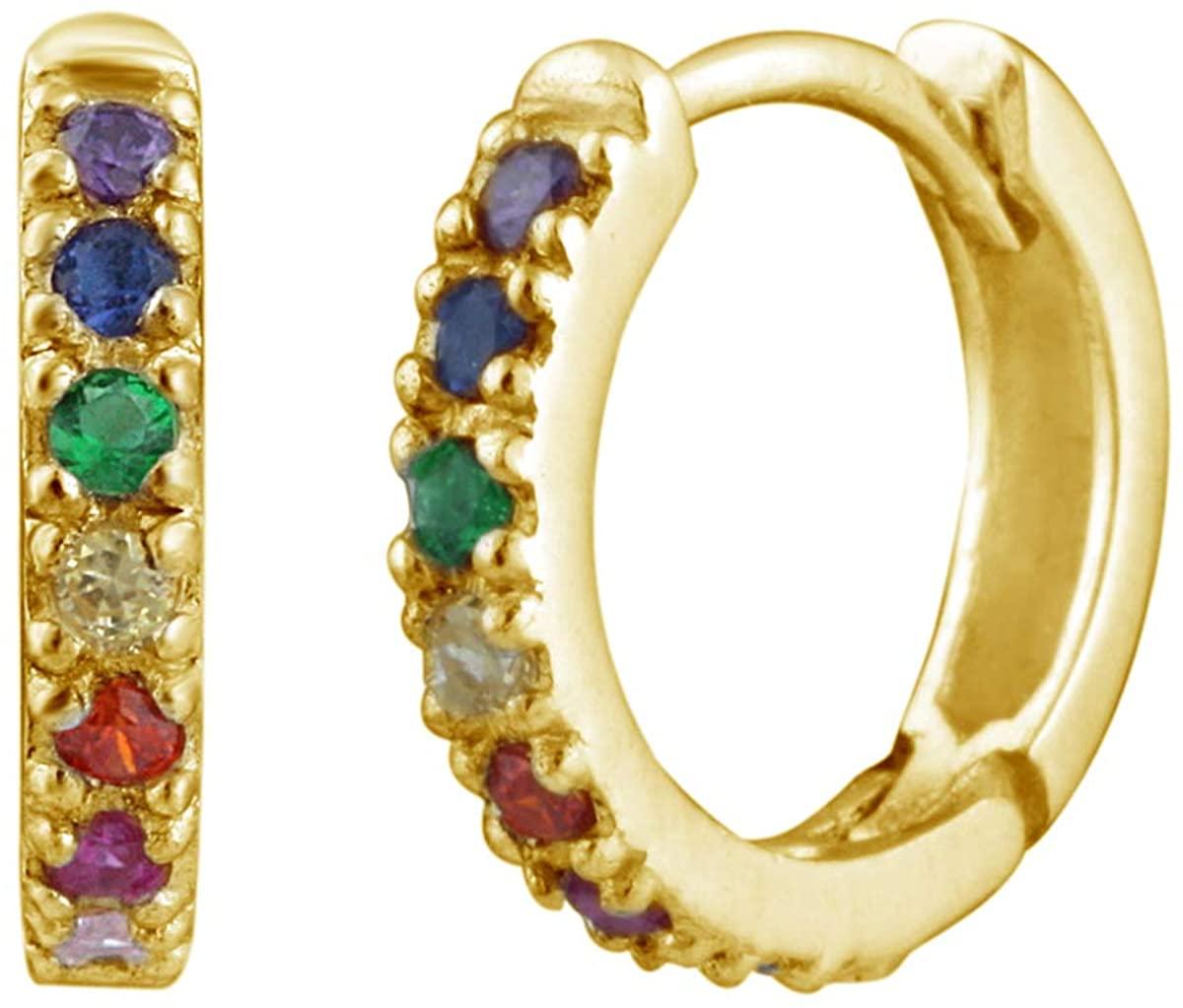 Yellow Gold Dipped Sterling Silver & Rainbow Crystal Huggie Hoop Earrings