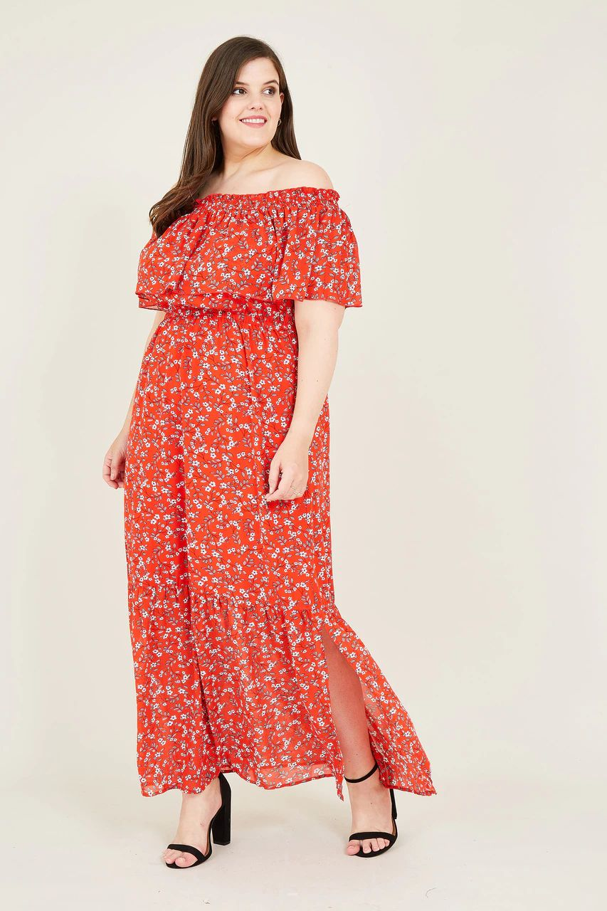 Yumi Plus Size Ditsy Floral Bardot Red Maxi Dress