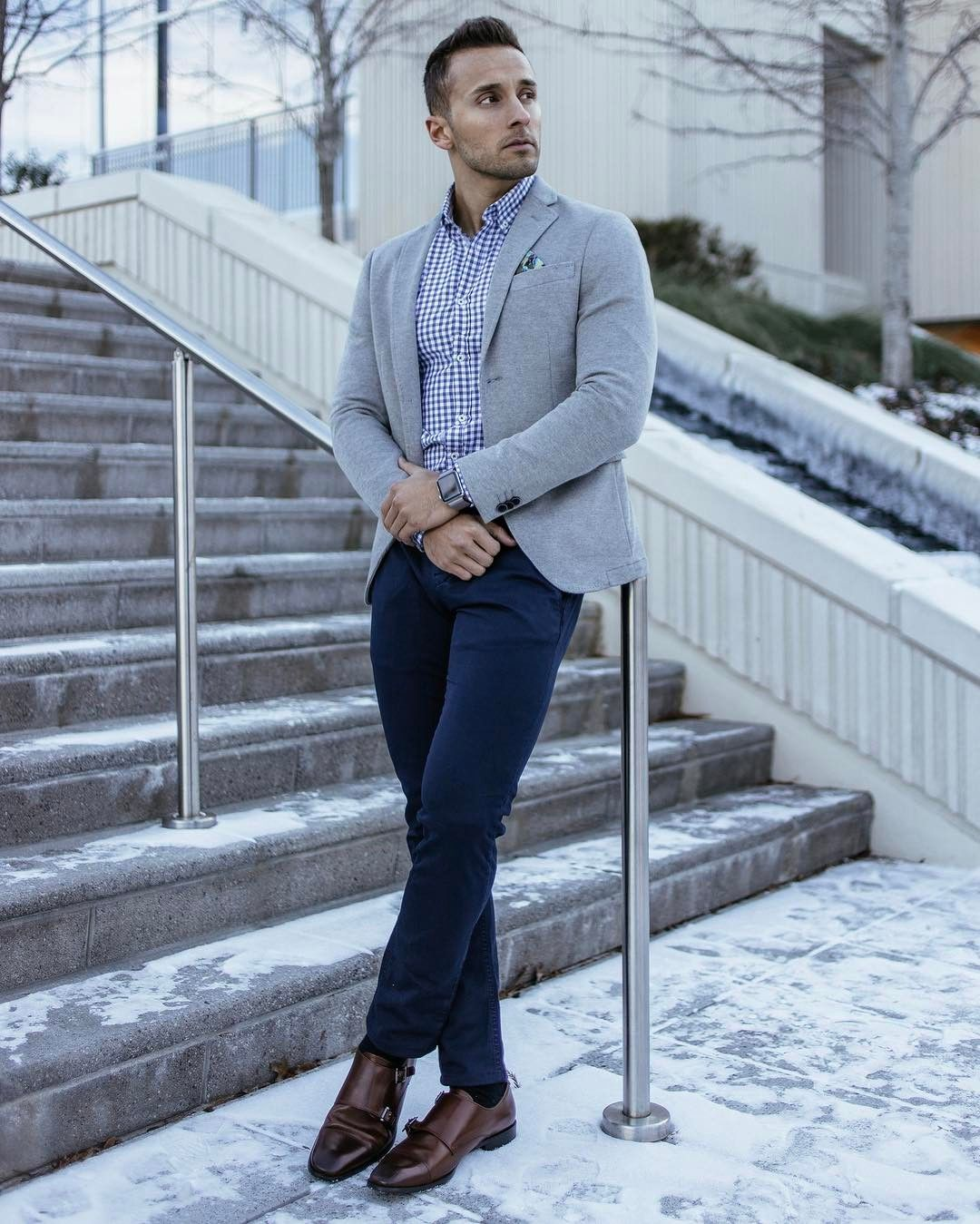 Check Shirt With Chinos, Suede Shoes & Casual Blazer