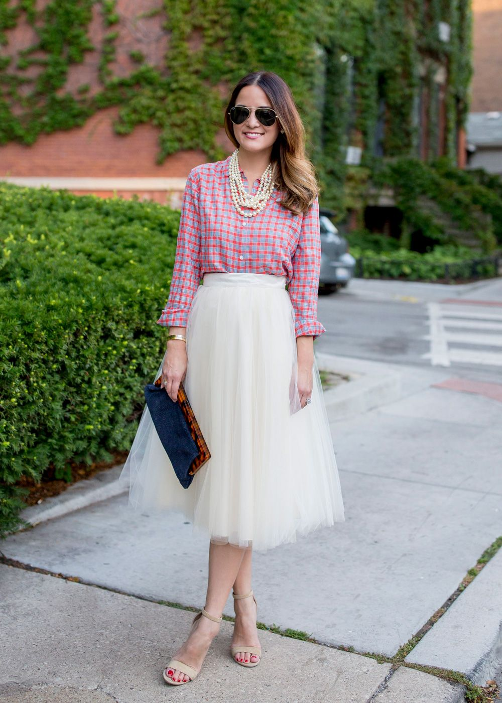 White Tulle Skirt with button-down