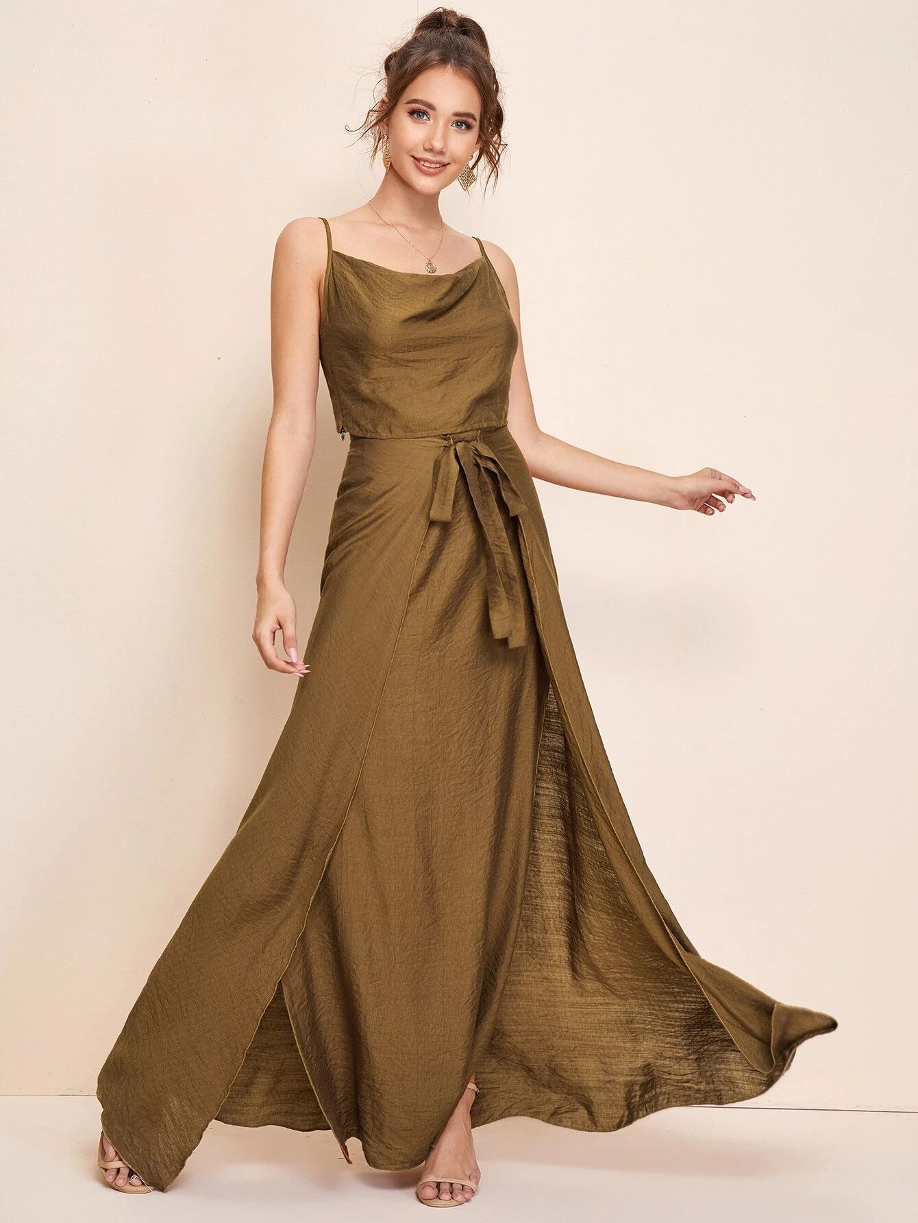 Cowl Neck Top with Maxi Skirt