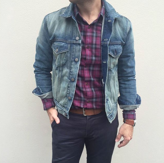 Check Shirt With Denim Jacket