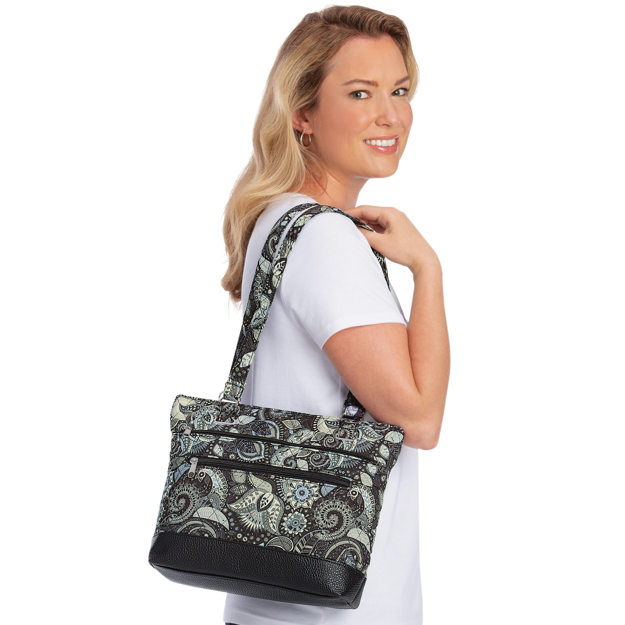black paisley pattern handbag